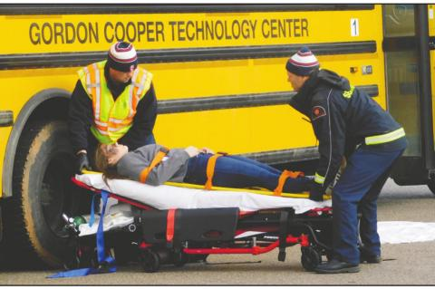 Emergency Medical Services participate in simulated bus crash exercise at Gordon Cooper Technology Center